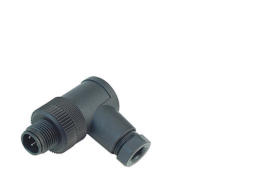 Illustration M12-A male angled connector, Contacts: 4, 4.0 - 6.0 mm, screw clamp, IP67, UL