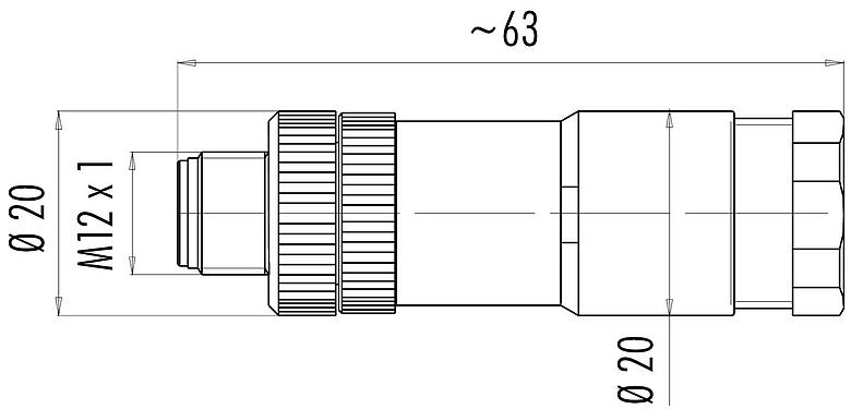 Scale drawing M12-A Double male socket, Contacts: 4, 2 x 2: 1.0 - 3.0 mm / Ø 4.0 - 5.0 mm, unshielded, screw clamp, IP67, UL